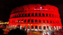 Rome's Colosseum was lit red in remembrance of persecuted Christians at the weekend.