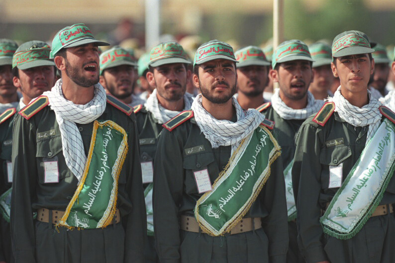 Ali Khamenei with the Revolutionary Guard Corps and Basij volunteer militia