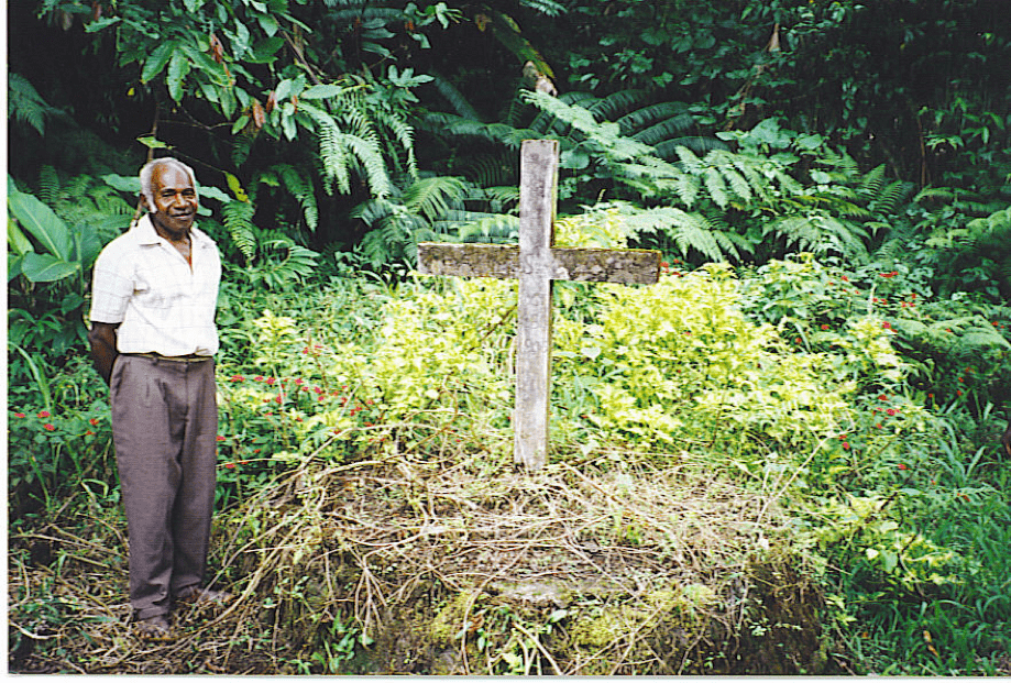 The cross in the jungle, the site of Charles Godden's martyrdom.