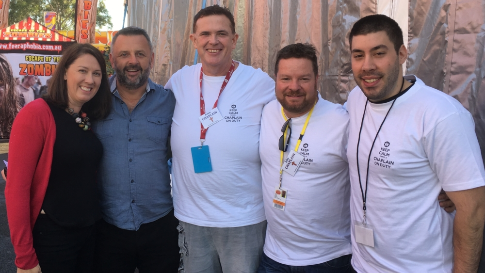 John Delezio, second from right, with MTS colleagues Emma and Ben Pfahlert, Adam McCormick and Samuel Thorn after an Easter service at the Royal Easter Show in Sydney.