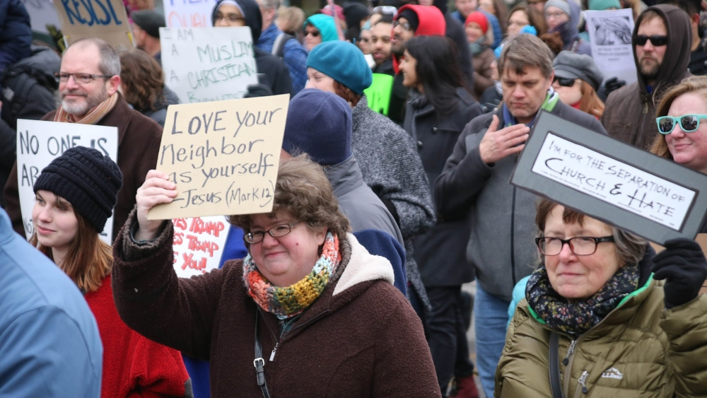 A Love Your Neighbor as Yourself rally in St Louis, Missouri, in February 2017 protesting against Donald Trumps executive order on immigration.