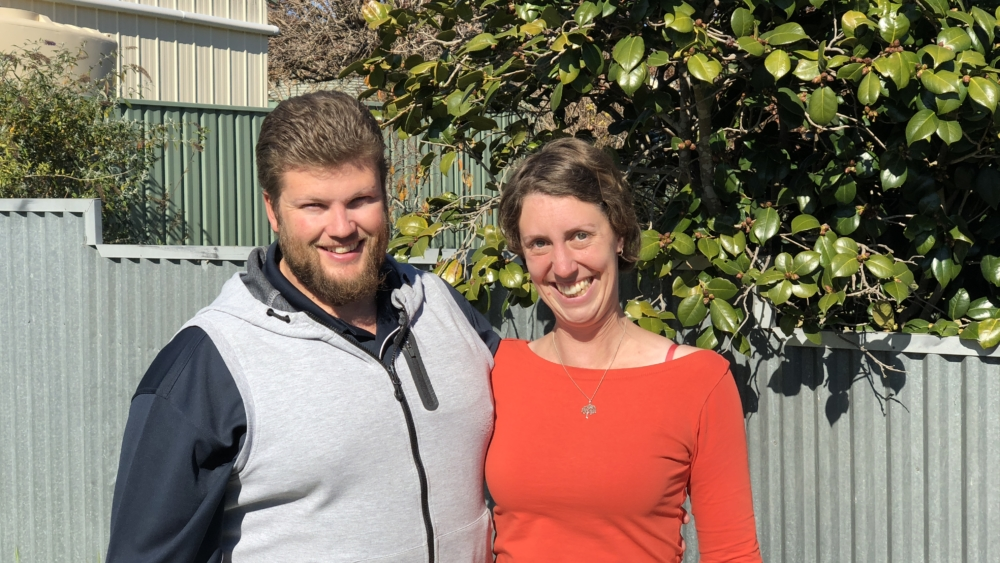 Jeremy and Catherine Sharpe in their backyard in Goulburn, NSW