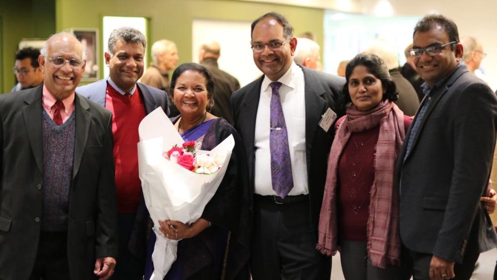 Kamal Weerakoon, centre, with With Vasantha Weerakoon, Kanishka Raffel, Patricia Weerakoon, Faustine Jayasinghe and Dilan Jayasinghe