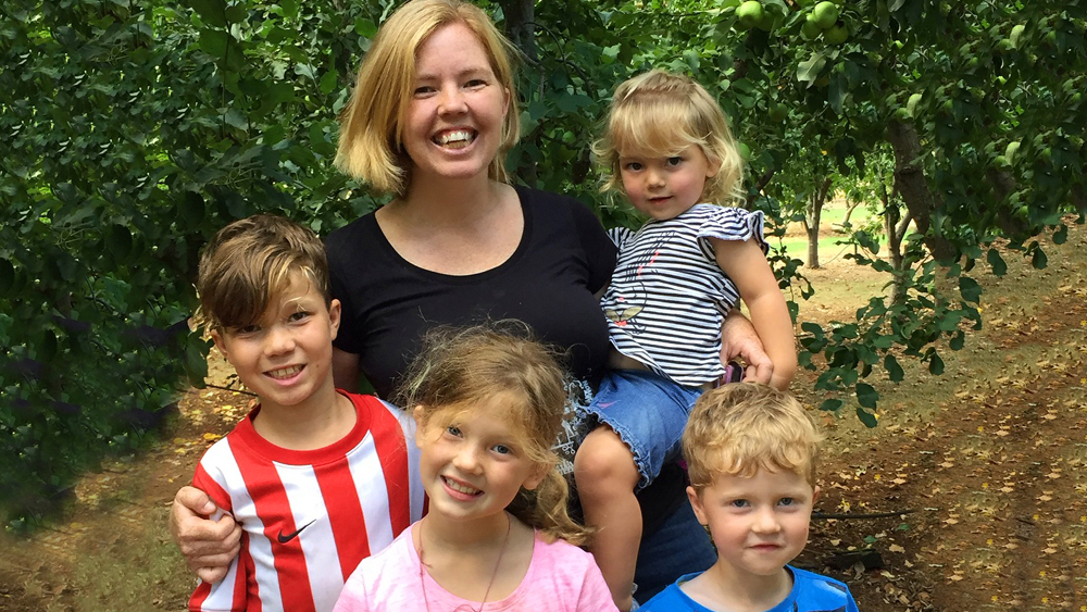Louise Pekan with her biological children - Adley, Nevaeh, Caden and Liana