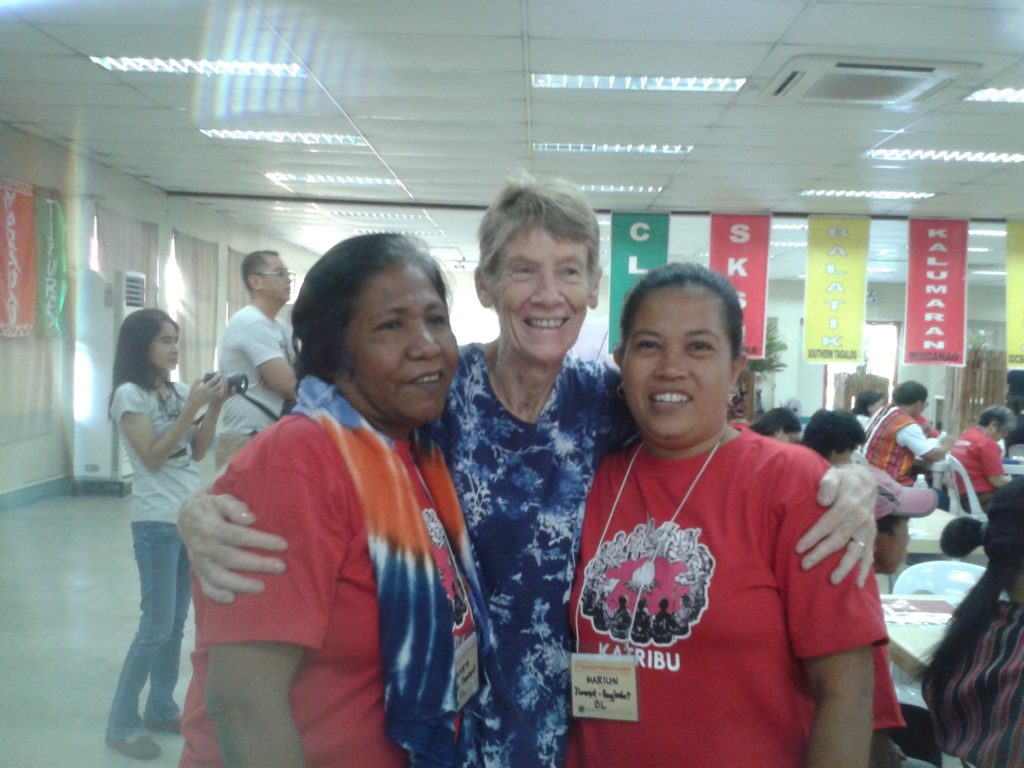 Patricia Fox with friends at a meeting of Indigenous peoples just before she left the Philippines.