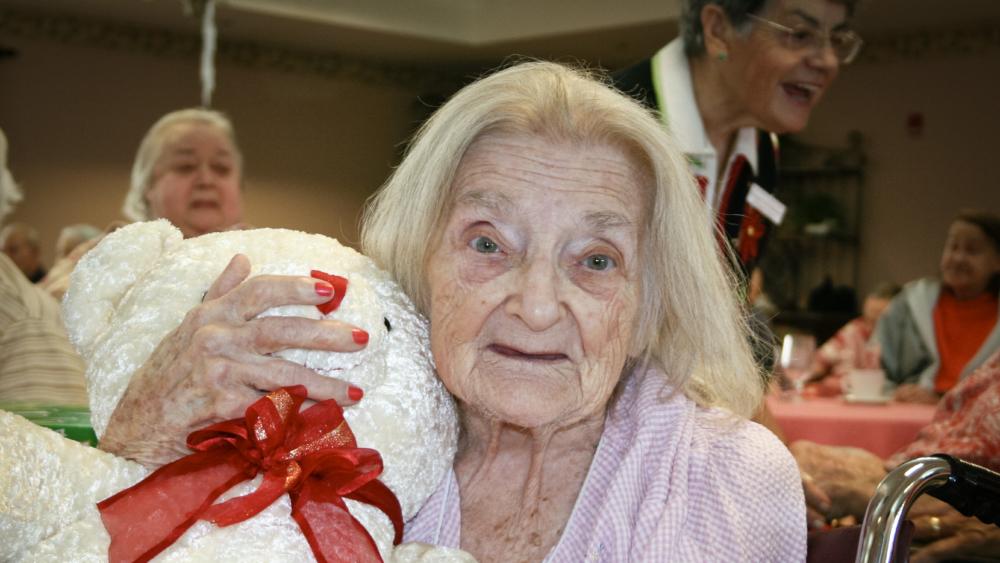 Elderly lady teddy bear Christmas