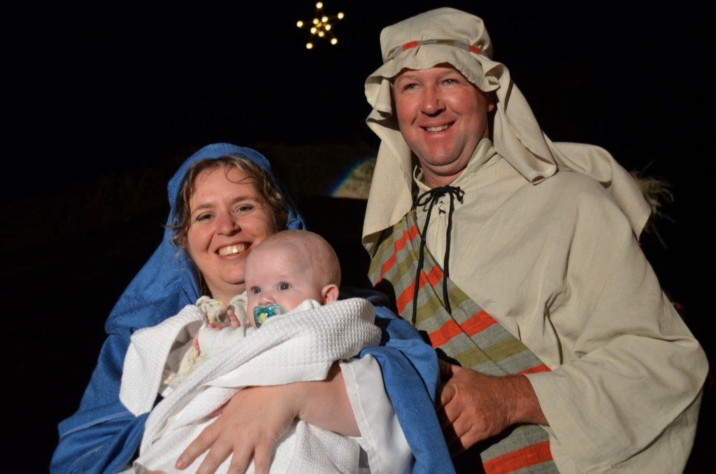 The play's Mary, Joseph and baby Jesus.
