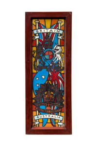 One of the stained glass windows that were originally mounted in a chapel in the POW camp in north Jakarta. They were hand made and painted by POWs.