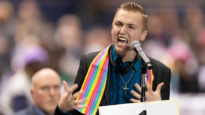 A young gay delegate J. J. Warren gave an impassioned speech at the UMC meeting