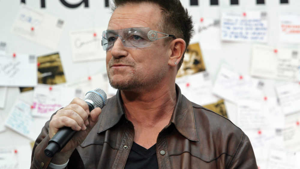 Bono speaking at a World Bank event on poverty in 2012.