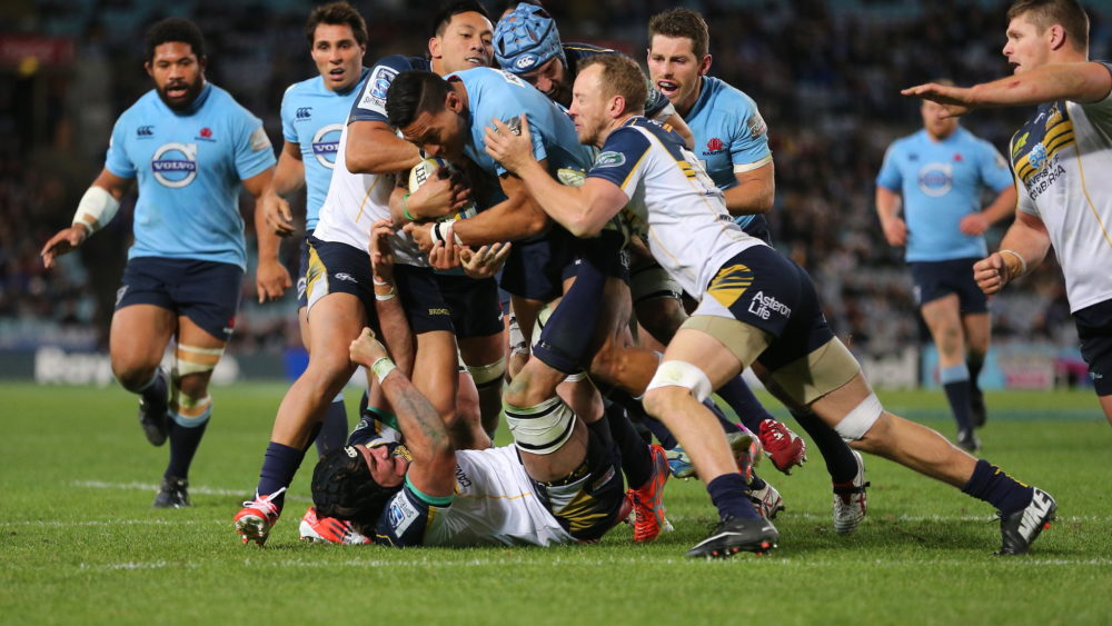Israel Folau playing for the NSW Waratahs in 2014.