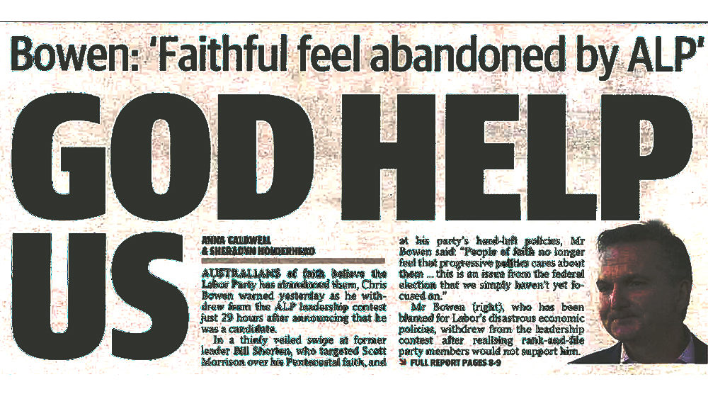 "Daily telegraph headline ""God Help Us"""