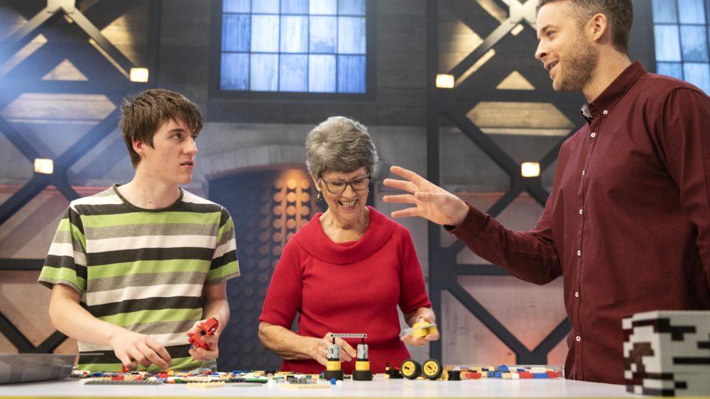 Matt and Lyn with Lego Master host Hamish Blake.