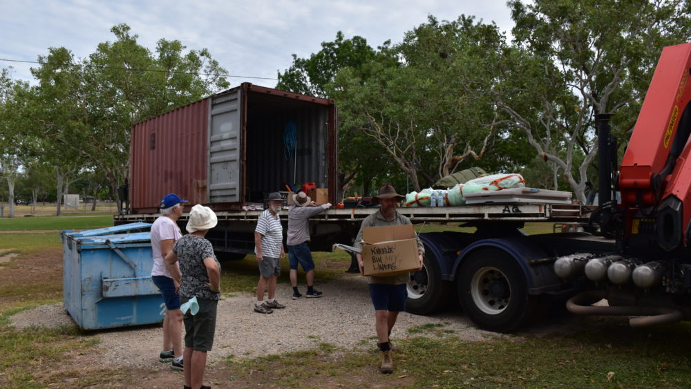 From Maitland to Katherine: unloading the truck at the Katherine Christian Convention.
