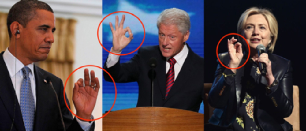"Obama, and two Clintons do the ""okay"" sign"