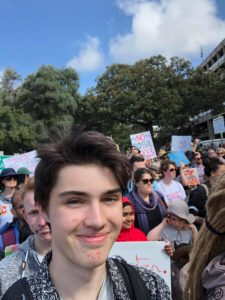 Tom Barker attends the Climate Strike in Sydney