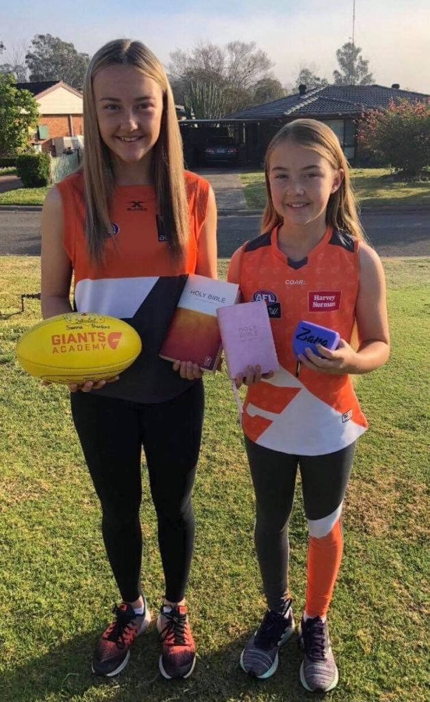 Sienna (13) and Zara (11) they love AFL and the GWS giants and also play for the Penrith giants - both gave their hearts to Jesus at 4 years of age.