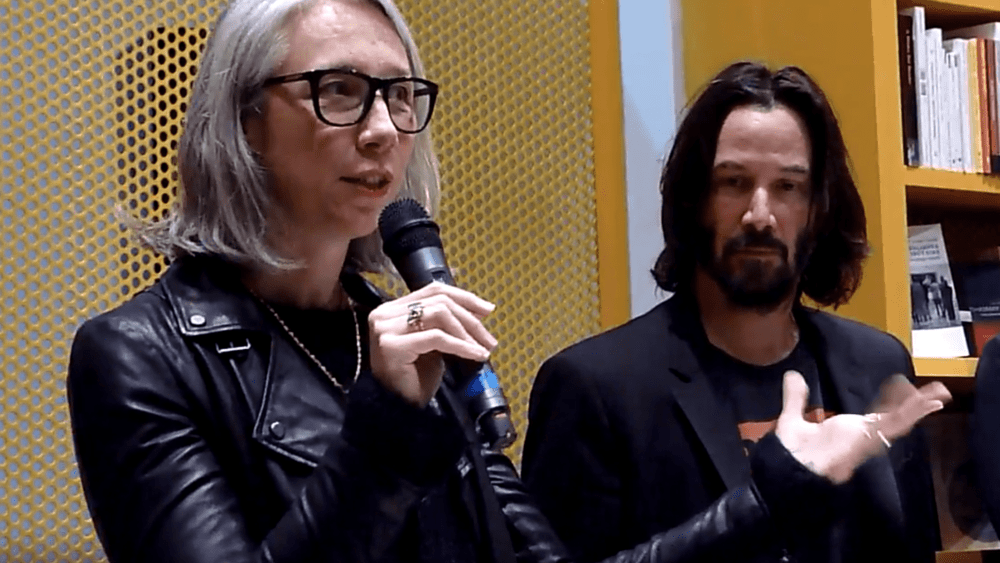 Keanu Reeves and Alexandra Grant at their book launch in Paris, 2017.