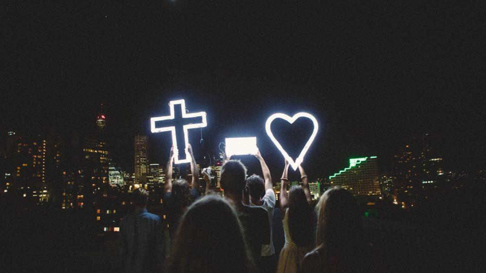 Cross equals love over sydney city