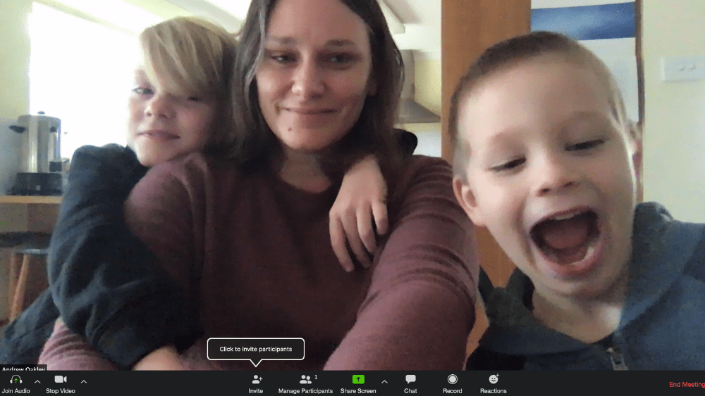 Rebecca Oakley and kids on Zoom