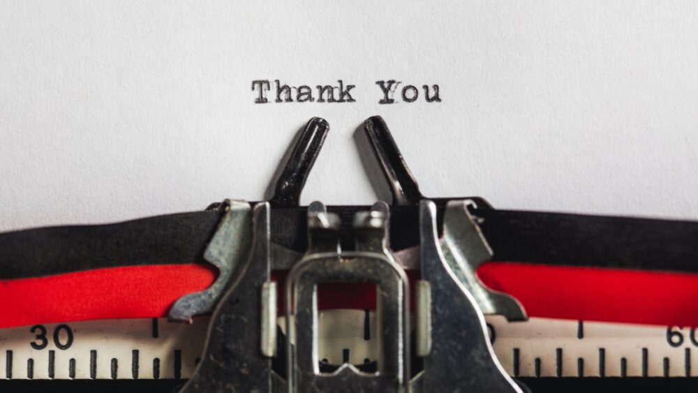 Thank you on typewriter